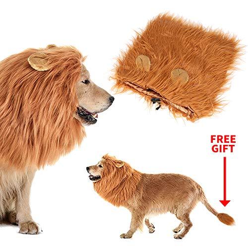 Calevin hond leeuw manen kostuum leeuw pruik met oor voor Halloween Christmas Party grappige hond haar past middelgrote tot grote hond huisdier