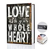 Real Pages Portable Secret Book Hidden Safe with Combination Lock - Hollowed Out Book with Hidden Compartment for Jewelry, Money, Passport and Cash