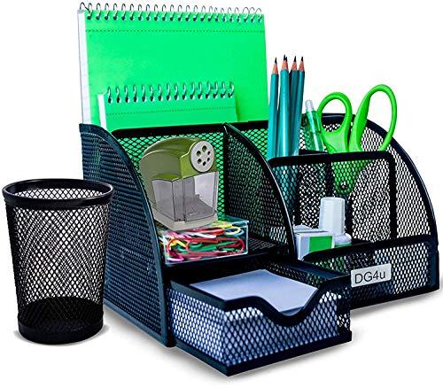 Mesh Desk Organizer & Bonus Wire Mesh Pencil Cup | 5 Compartments+1 Drawer | Desk Stuff by DG4u