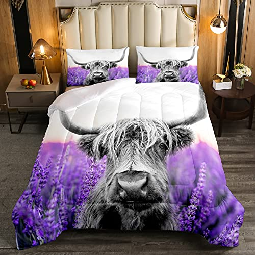 Highland Cattle Comforter for Boy Kids Girls Lavender Flower Sea Comforter Set Full Size Home Decor Soft Wild Animal Cowboys Bedding Set Purple Flowers Bedroom Down Duvet,1 Comforter with 2 Pillowcase