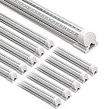 HONGLONG LED Tienda Light, 8FT 72W 9000LM 5000K, luz del día, Forma V, Cubierta Clara, Salida de Alto, Luces de talleres enlazables, Luces de Tubo LED T8, Luces de Taller LED (Paquete de 10)