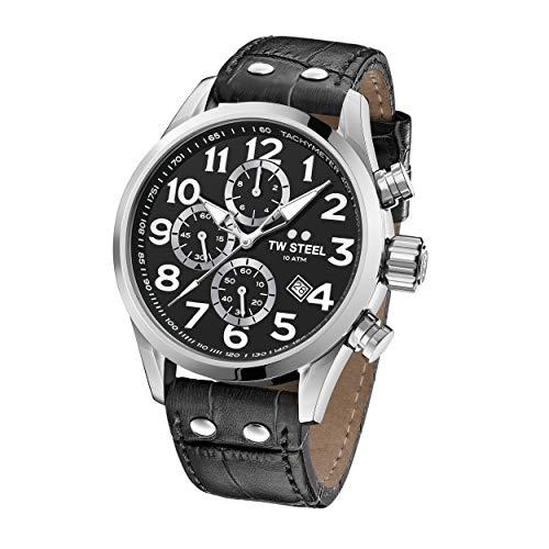TW Steel Unisex Erwachsene Chronograph Quarz Uhr mit Leder Armband VS54