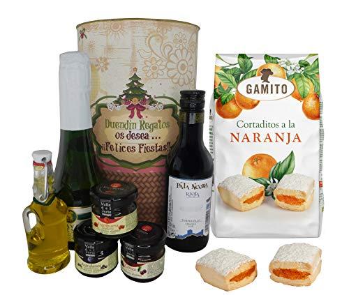 Lata PERSONALIZADA Navidad con cava, vino tinto Crianza, Aceite Virgen extra, mermeladas y cortaditos de naranja