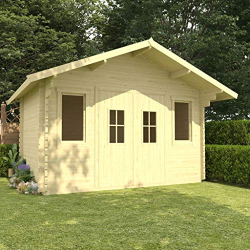 SKM Log Cabin with Floor 44 mm 4x3x2.91 m Solid Pinewood