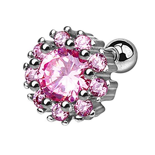 Piercingfaktor Tragus Piercing Helixpiercing Helix Ohr Cartilage Knorpel Stecker Blume mit Kristallen Silber Pink