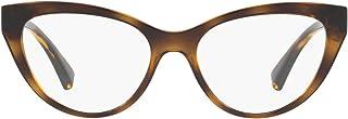 Ralph by Ralph Lauren Women's RA7106 Cat Eye Prescription Eyewear Frames, Shiny Transparent Dark Havana/Demo Lens, 53mm
