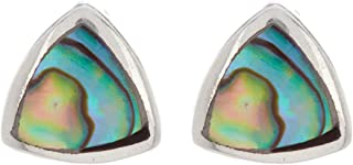 Sterling Silver With Abalone Shell Hammered Earrings