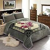 JML Fleece Blanket, Plush Blanket King Size 85' x 93', 10 Pounds Heavy Korean Style Mink Blanket - Silky Soft and Warm, 2 Ply A&B Printed Raschel Bed Blanket, Grey Green Rose