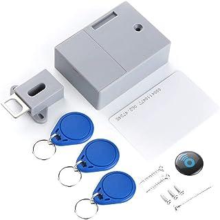OWSOO Cerradura Inteligente, RFID, Sensor de Tarjeta IC, sin Agujero Perforado, Cerradura Invisible para Cajón, Armario