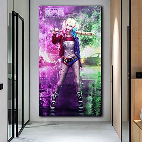 KWzEQ Impresión en HD Payaso niña póster impresión Lienzo de Arte de Pared para Sala de Estar decoración del hogar,Pintura sin Marco,50X100cm