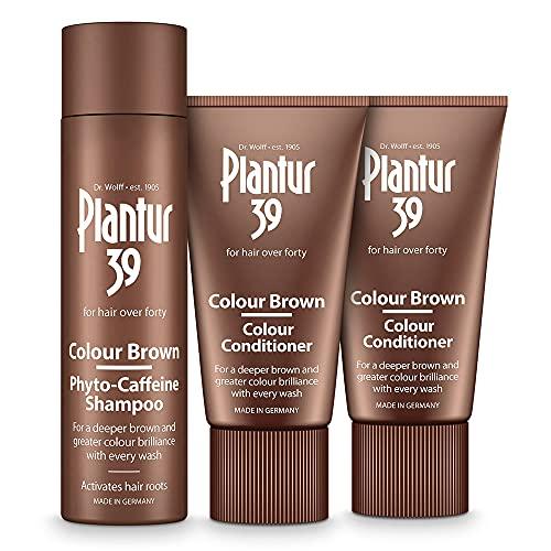 Plantur 39 Color Brown Pack de Champú anticaida mujer con cafeína 250 ml y acondicionador 2x 150 ml | oculta raíces del pelo y reduce la caida del cabello mujer | fórmula única crecimiento cabello