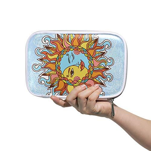 Cartoon Schöne Sonne Mit Mond Mehrere Große Leder Bleistift Stift Taschen Reise Kosmetiktasche Passport Wallet mit Reißverschluss