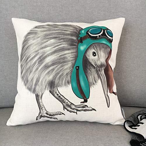Alicert5II Kiwi vogelkussen, kussensloop, decoratief beddengoed, kussen, bank en slaapbank, kussen, uniek design, kunst, afmetingen: 18 x 18 inch