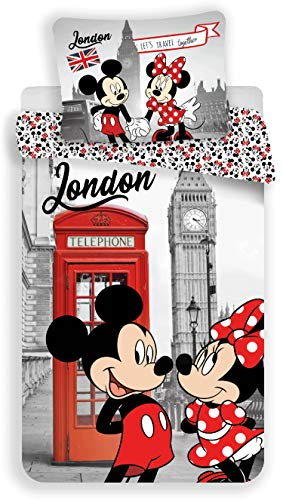 Disney Minnie und Mickey London Bettwäsche – Bettbezug Baumwolle