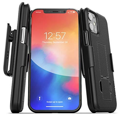 Encased DuraClip Series Designed for iPhone 12 Mini Belt Clip Case Slim Cover with Holster - Black