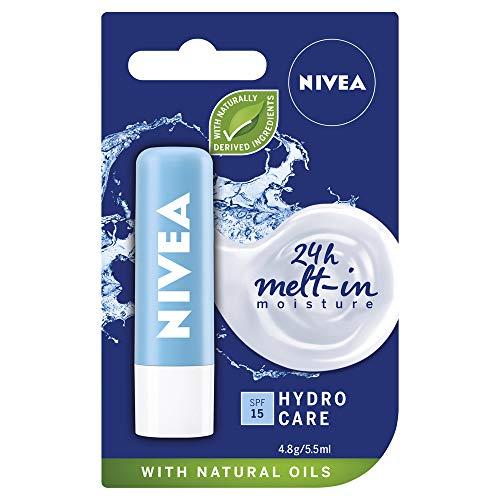 NIVEA Lip Balm Hydro Care with SPF 15 (4.8g), Hydrating Lip Balm with Aloe Vera, Moisturising Lip Care with Natural Oils for 24h Moisture Care, Lip Balm SPF 15