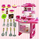 Toddler Kitchen Playset | Kids Pretend Play Cooking Food Set with Lights & Sounds | Large Plastic Cookware Battery Operated Toy Cooks Playset (from US, Pink)