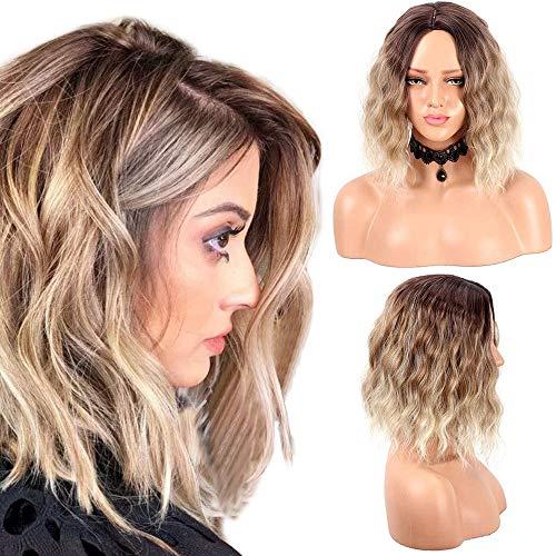 Pelucas cortas de pelo sintético Bob Wig para mujer Pelucas de ondas rizadas naturales (14 pulgadas, T4/6/613#)
