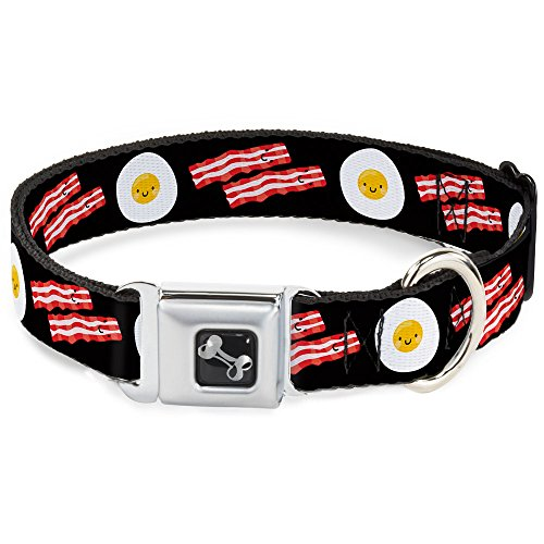 Buckle-Down Seatbelt Buckle Dog Collar - Bacon & Eggs Black - 1' Wide - Fits 11-17' Neck - Medium