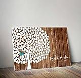 Libro de firmas'Arbol' | Crea un cuadro con la firma de tus invitados | Original y Personalizado | 90cm x 60cm (Madera Clara 5mm)