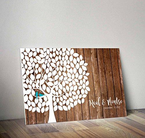 Libro de firmasArbol | Crea un cuadro con la firma de tus invitados | Original y Personalizado | 90cm x 60cm (Madera Clara 5mm)