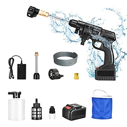 S SMAUTOP Akku Hochdruckreiniger, 24 V Akku Hochdruckreiniger Tragbarer Hochdruckreiniger 400PSI 4l/min Elektrischer Multifunktionsreiniger mit 6-in-1 Düse und 5m Schlauch,für Auto Reinigungsarbeiten