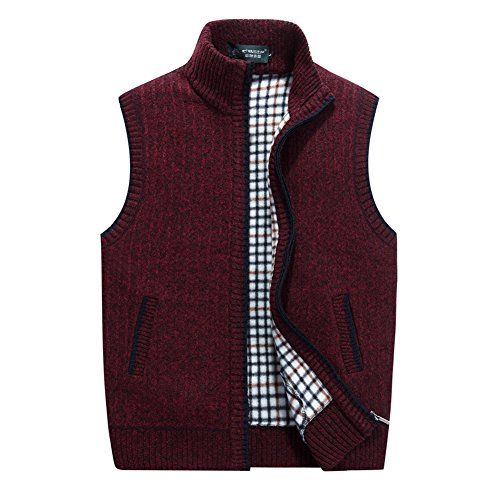 XinYangNi Men's Casual Knitted Sweate Vest Thick Full Zip Utility Pocket Wine Red US XL/Asia 3XL