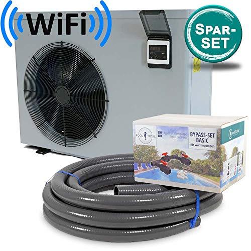 Inverter Wi-Fi Wärmepumpe Mr. ECO + Bypass-Set + Flexrohr/Poolheizung/Für Schwimmbecken bis 20m³