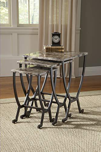 Hillsdale Monaco Metal Nesting Tables, Marble with Matte Espresso