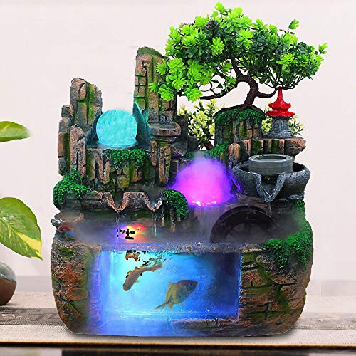 Aohuada Zimmerbrunnen Indoor Desktop-Brunnen Wasserfall Harz Steingarten Brunnen Set enthält Zerstäuber rotierende Kugel LED Light Beleuchtung Zubehör geeignet fur Wohnzimmer Büro 220v