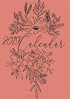 2019 Calendar: Minimalist Floral With Inspirational Quotes salmon texture cover