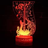 sanzangtang LED Night Light 3D-Vision-Seven Colors-Remote Control-Musical Note Guitar Theme Light Night Light Decoloration Mood Light