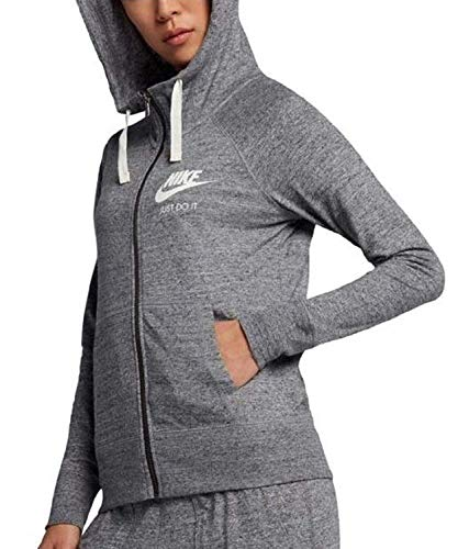 Nike Womens Gym Vintage Full Zip Hooded Sweatshirt Carbon Heather/Sail 883729-091 Size X-Small