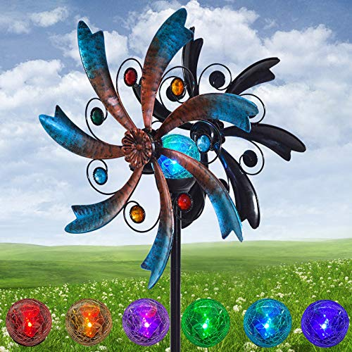 ALLADINBOX 57 Inch Solar Wind Spinner Blue Metal Garden Decor with Multi Color Changing LED Solar Powered Glass Ball Wind Sculpture Spinner Windmills for Yard Patio Outdoor Decoration