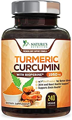 Turmeric Curcumin with BioPerine 95% Curcuminoids 1950mg with Black Pepper for Best Absorption, Made in USA, Natural Immune Support, Turmeric Supplement by Natures Nutrition - 240 Capsules by Nature's Nutrition