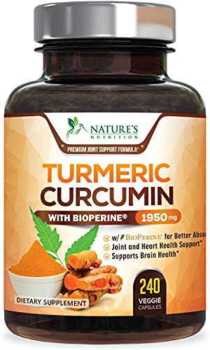 Turmeric Curcumin with BioPerine 95% Curcuminoids 1950mg with Black Pepper for Best Absorption, Made in USA, Natural Immune Support, Turmeric Supplement by Natures Nutrition - 240 Capsules