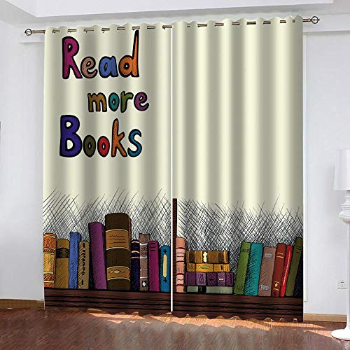 NHBTGH Blackout Curtains Book Eyelet Curtains 59.05x65.35 inch Printed Polyester Super Soft Thermal Insulated Noise Reducting Energy Saving for Bedroom Kids Room Curtain Two Panels