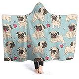 321DESIGN Pug Pet Dog Wearable BlanketFleece Hooded Robe Cloak Throw Quilt Poncho Microfiber Sherpa Plush Warm Wrap Multiple-Size Child(50'x40'in)