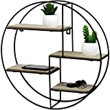 Black Metal <span class='highlight'>Wall</span> <span class='highlight'>Mounted</span> Multi Shelf Storage Organiser Unit Display Rack - Round