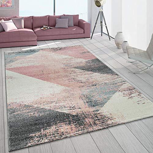 Paco Home Teppich Wohnzimmer Grau Weiß Rosa Pastell Dreieck Muster Vintage Design Kurzflor, Grösse:80x150 cm
