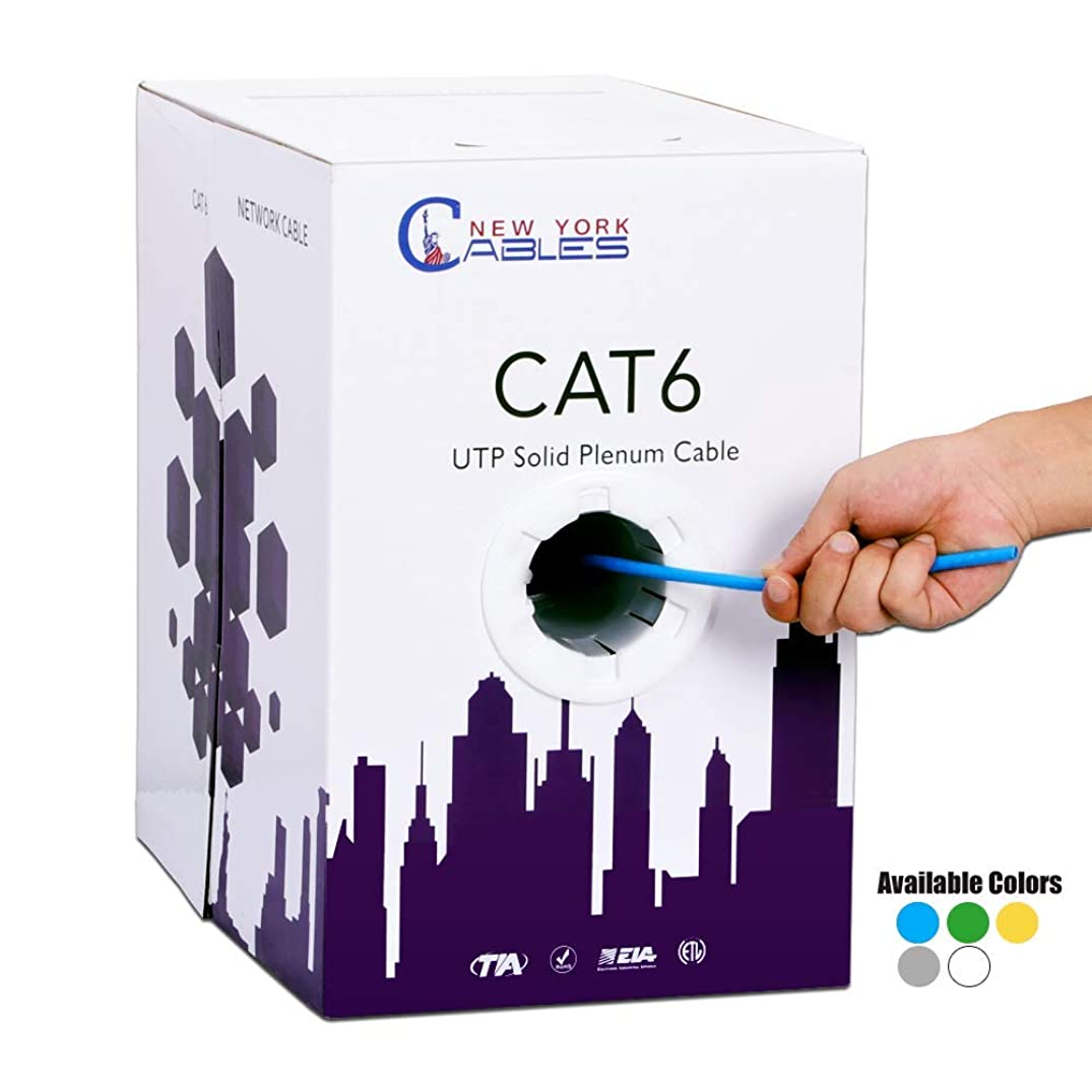 CAT6 Plenum (CMP) Bulk 1000ft Solid Ethernet Network Cable 4 Pair UTP 23AWG 550MHz [ETL Listed] - Blue