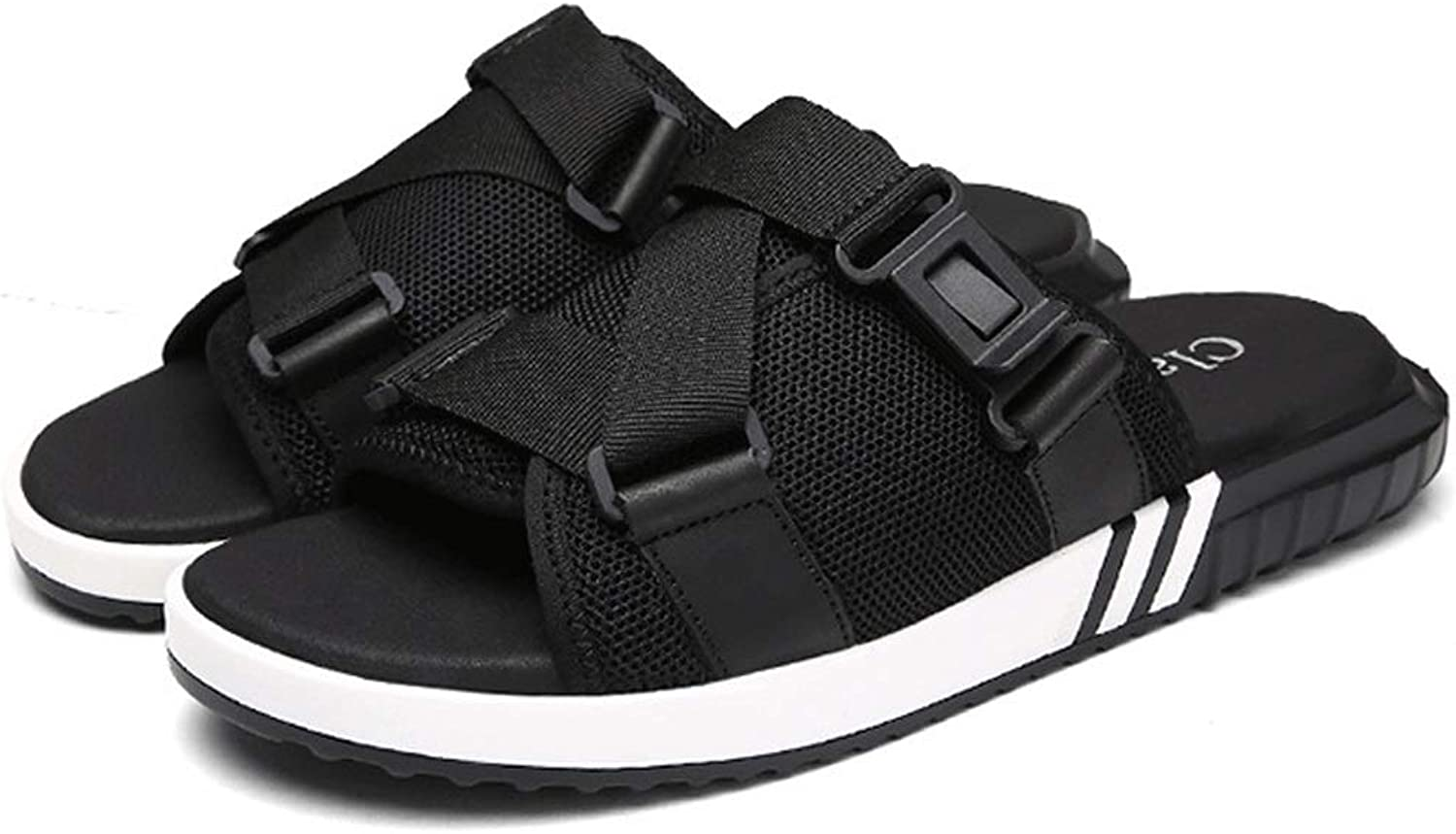 LiXiZhong Men's Sports Sandals Casual Breathable Sandals and Slippers Beach Walking Slippers (color   Black, Size   10.5 UK)