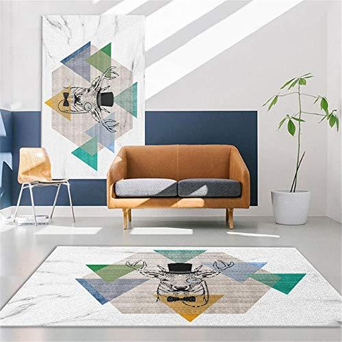 No Se Desvanece Para Salón La Alfombra Verde Alfombra de sala de estar verde triangular patrón geométrico antideslizante alfombra duradera durable resistente al moho La Alfombrae 80x160cm 2ft 7.5''X5f