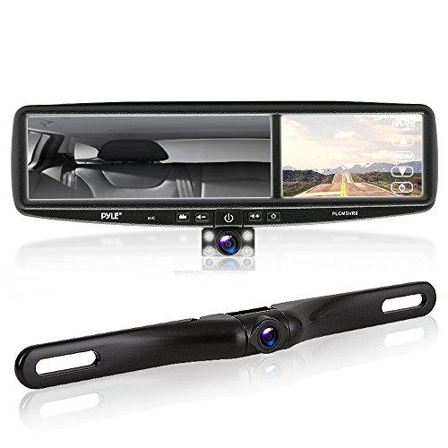 Sistema de cámaras para vehículo Pyle PLCMDVR8HD, vídeo cámara Dual DVR, 4,2 Pulgadas, para Espejo retrovisor, Impermeables y con visión Nocturna, 1080p