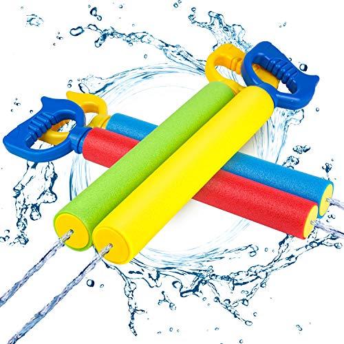 Kiztoys Wasserpistole,Bunte Kinder Schaum Wasserpistole Spritzpistole 4 Stück Set,Water Gun mit 6-8 Meter Reichweite Blaster Spielzeug für Kinder Sommer-Strand-Poolspielzeug Kinderspielzeug im Freien