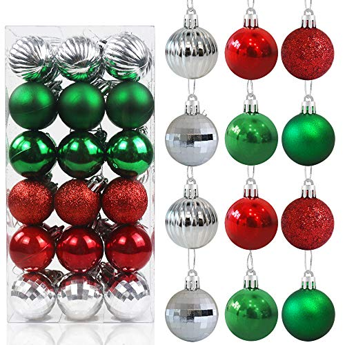 36ct Red and Green Christmas Christmas Ball Ornaments for Christmas Tree - 6 Style Tree Ornaments Decorations 1.6' Shatterproof Xmas Hanging Ball - Christmas Deorations for Home, Office