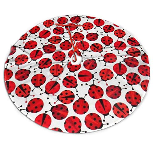 wonzhrui Christmas Tree Skirt,Red Ladybugs Xmas Tree Skirt for Christmas Decorations(36 Inch)