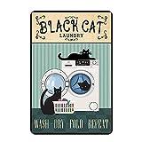 Signs Black Cat Laundry Vertical Wash Dry Folf - Decoración de pared para colgar en el hogar, 20 x 30 cm