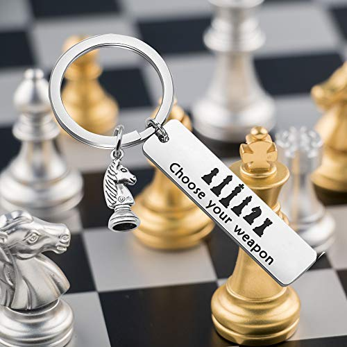 Product Image 2: SEIRAA Chess Lover Gift Nerdy Science Gift Choose Your Weapon Keychain Funny Gift for Chess Players (Chess Keychain)