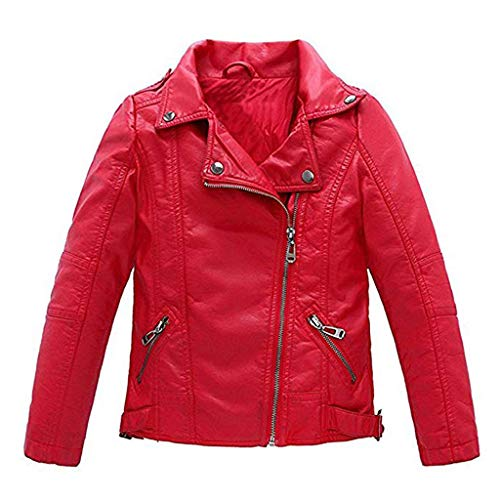 Meeyou Children's Motorcycle Leather Jacket, Faux Leather Coat for Boys (130/5-6T, Red style)